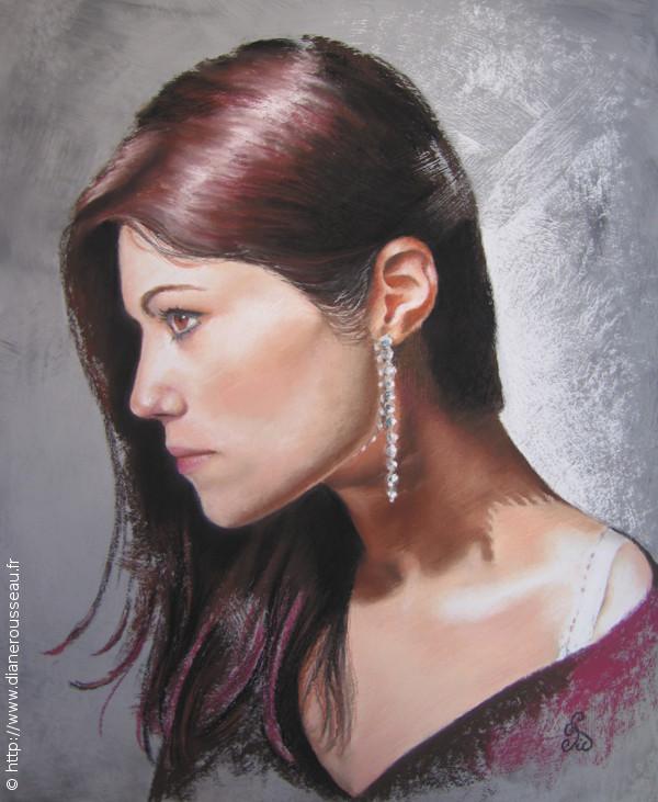 La boucle d'oreille, Diane Rousseau, portrait pastel sec