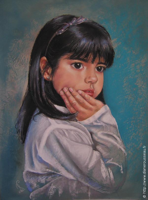 Dans ses pensées, Diane Rousseau, portrait pastel sec