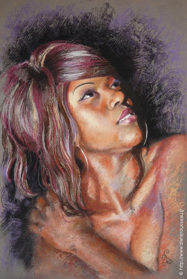 Instant de grâce, Diane Rousseau, portrait pastel sec